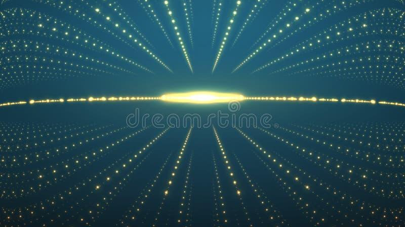 Abstracte vectorachtergrond Matrijs van gloeiende sterren met illusie van diepte en perspectief stock illustratie