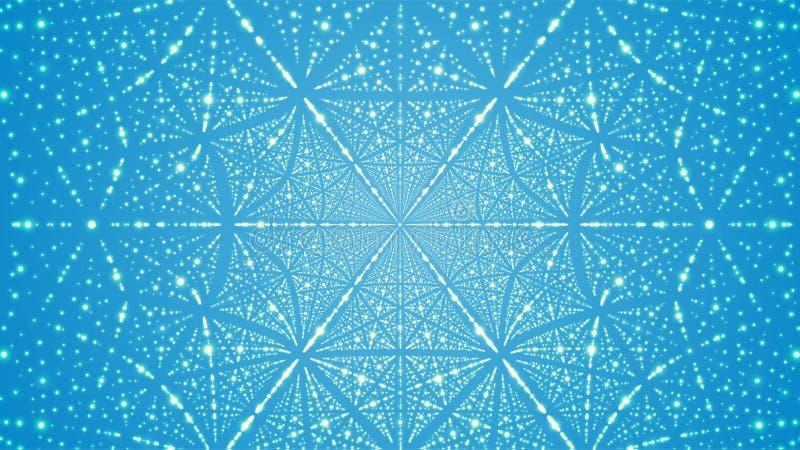 Abstracte vectorachtergrond Matrijs van gloeiende sterren met illusie van diepte en perspectief royalty-vrije illustratie