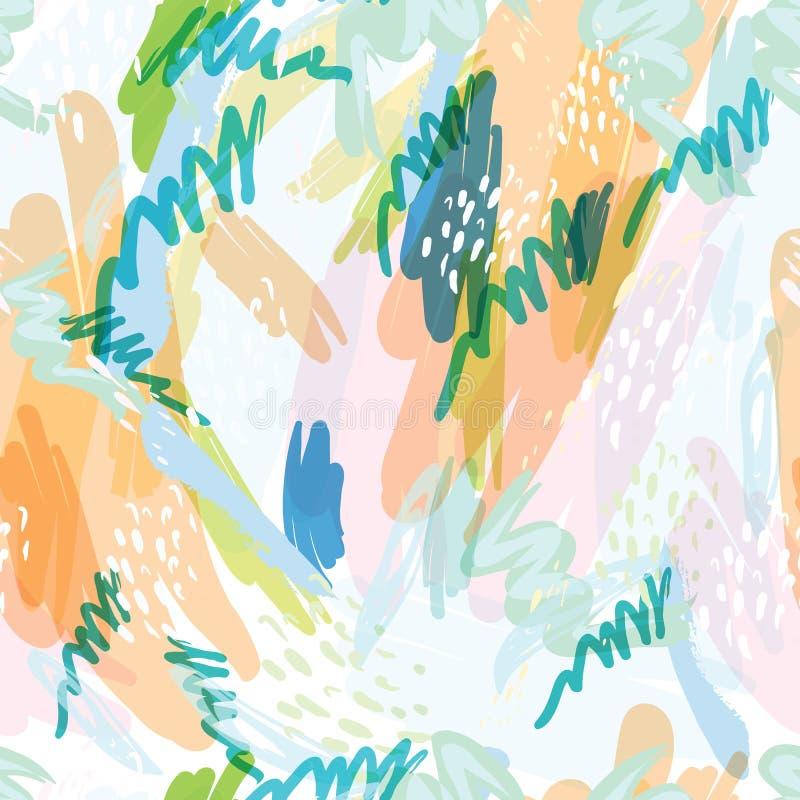 Abstracte vectorachtergrond met de plonsen van de vlekkenwaterverf in gevoelige pastelkleuren vector illustratie