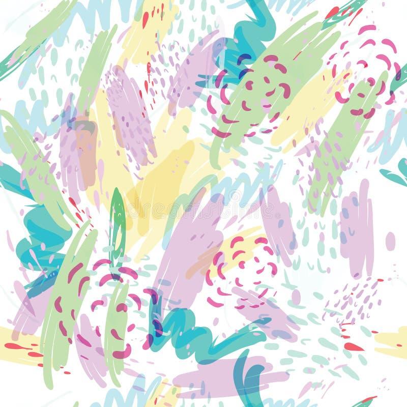 Abstracte vectorachtergrond met de plonsen van de vlekkenwaterverf in gevoelige pastelkleuren royalty-vrije illustratie