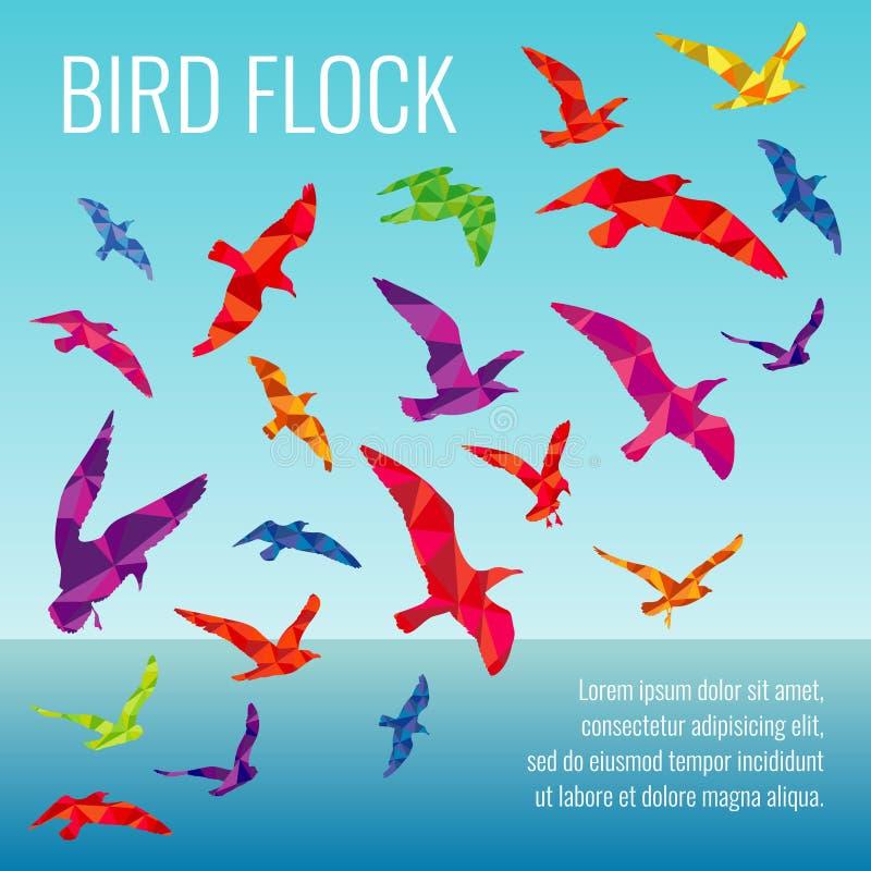 Abstracte vectorachtergrond met kleurensilhouetten van vliegende vogels vector illustratie