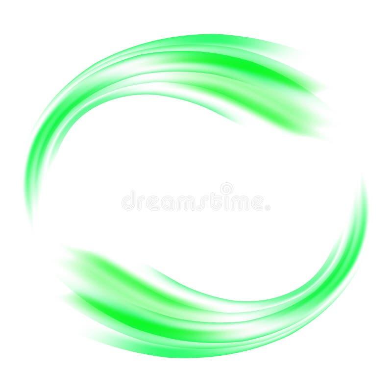 Abstracte vectorachtergrond om de groene golvende lijnen van de cirkelvorm royalty-vrije illustratie