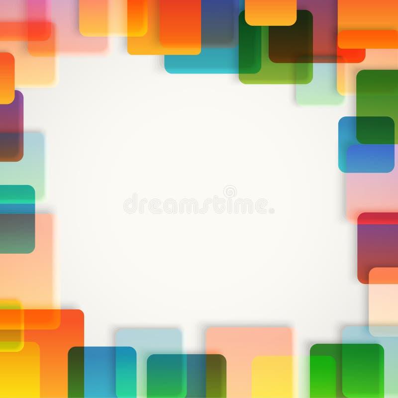 Abstracte vectorachtergrond van verschillende kleurenvierkanten vector illustratie