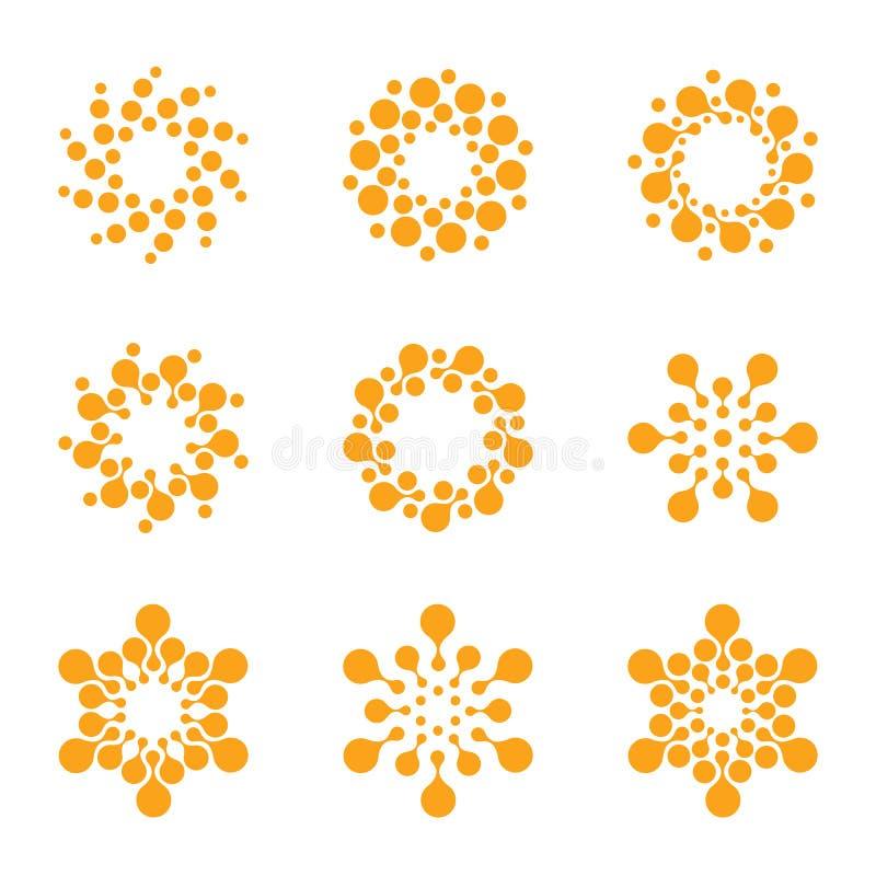 Abstracte vectorcirkel logotype Oranje ongebruikelijke geplaatste chemieemblemen Viruspictogram Oranje zonnige zon Bloem vector illustratie