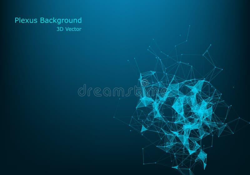 Abstracte vectordeeltjes en lijnen Vlechteffect Futuristische illustratie Veelhoekige Cyber-Structuur Het Concept van de gegevens vector illustratie