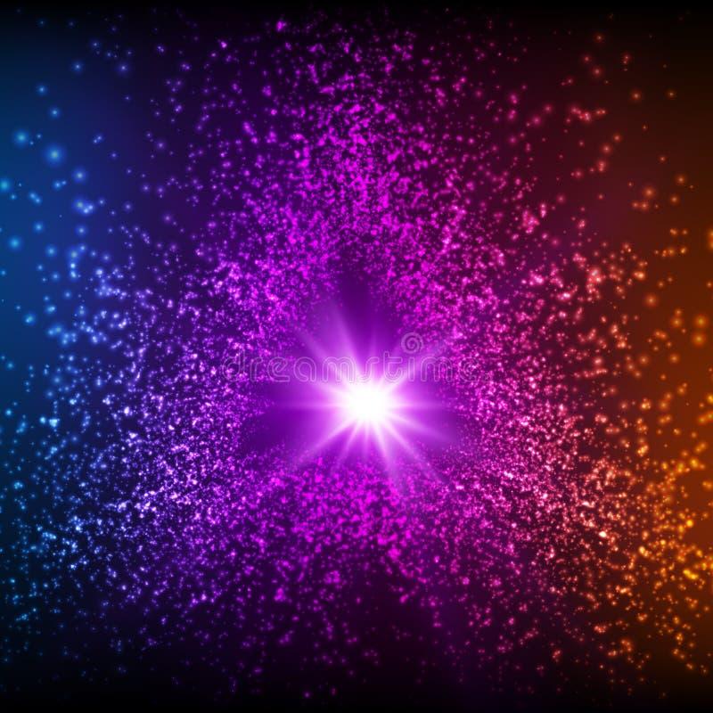 Abstracte vectordriehoeks violette ruimteachtergrond Explosie van gloeiende deeltjes De ster van Kerstmis royalty-vrije illustratie