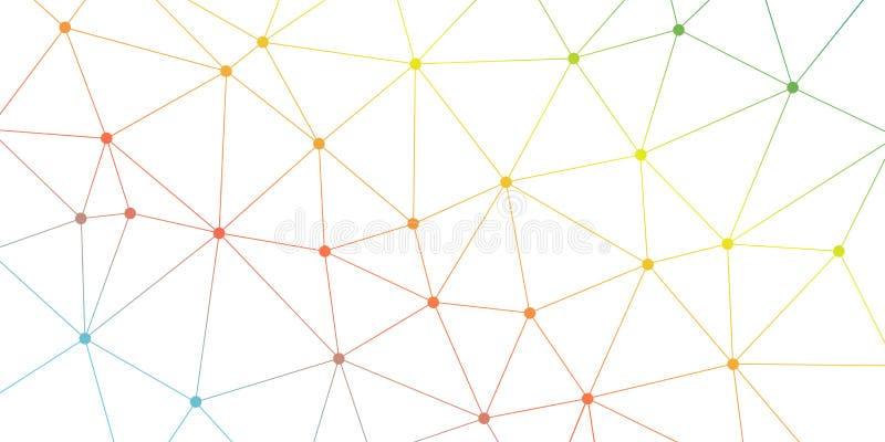 Abstracte Vectordriehoeksachtergrond Kleurrijk helder veelhoekig netwerkpatroon Lijnen en cirkelsverbindingsillustratie royalty-vrije illustratie
