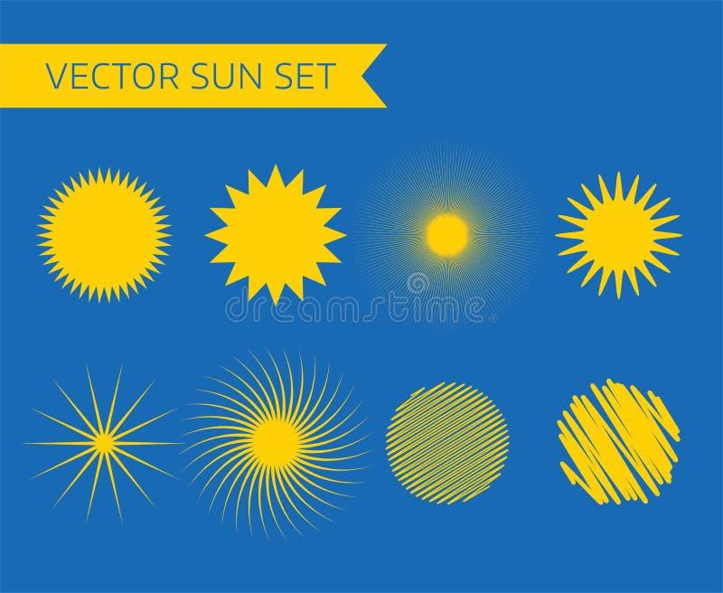 Abstracte vectorembleemelementen Zon, roeping stock illustratie