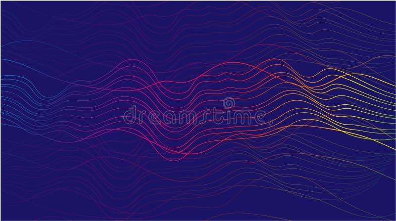 Abstracte vectorgolflijnen in roze en gele die kleuren op zwarte achtergrond voor ontwerpelementen in technologie worden geïsolee stock illustratie