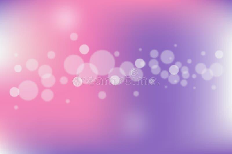 abstracte vectorillustratie De vage Lichten op roze en purpere achtergrond met bokeh voeren ontwerp voor uw inhoud uit vector illustratie