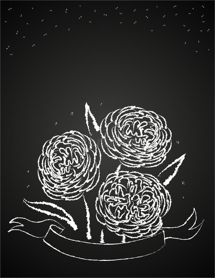 De bloemen van het krijt op bord stock illustratie