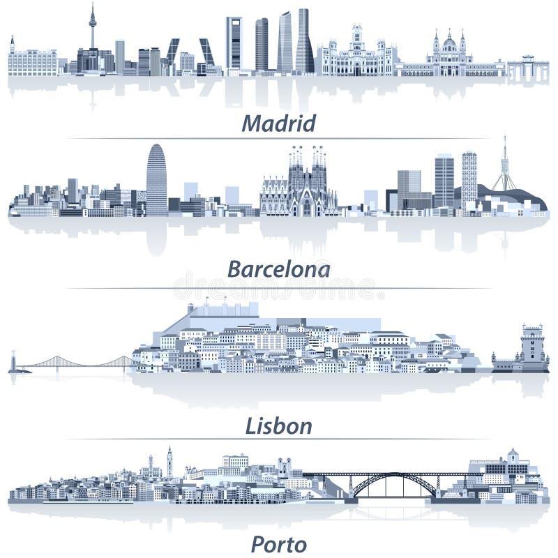 Abstracte vectorillustratie van de stadshorizonnen van Madrid, van Barcelona, van Lissabon en Porto in lichtblauw kleurenpalet me royalty-vrije illustratie