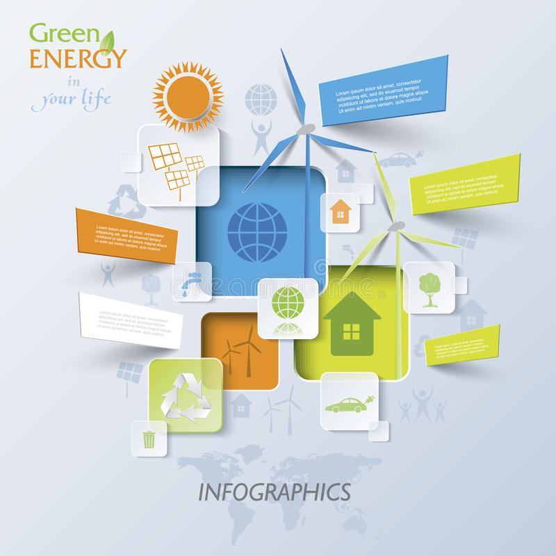 Abstracte vectorinfographic met windturbines, groene energie stock illustratie