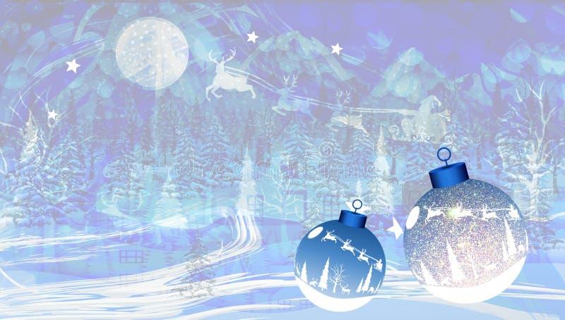 Abstracte vectorkerstmis geweven achtergrond met sneeuw, Kerstman en Kerstmisballen Vector illustratie