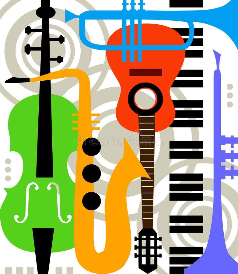 Abstracte vectormuziekinstrumenten stock illustratie