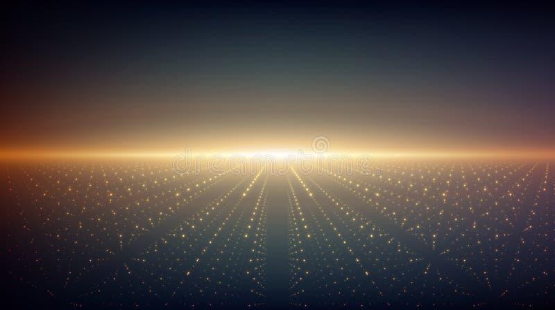 Abstracte vectoroneindigheidsachtergrond Gloeiende sterren met illusie van diepte en perspectief stock illustratie