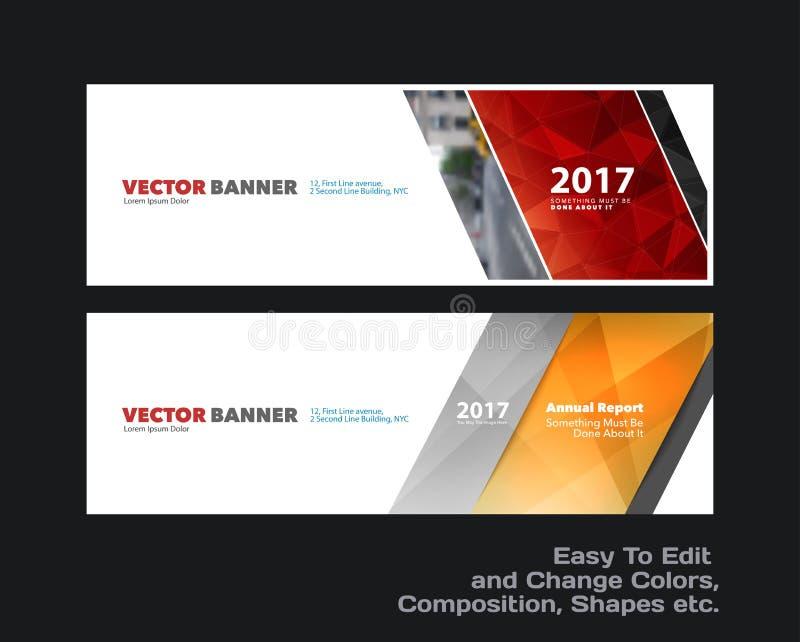 Abstracte vectorreeks moderne horizontale websitebanners met kleurrijke diagonale driehoekige vormen vector illustratie