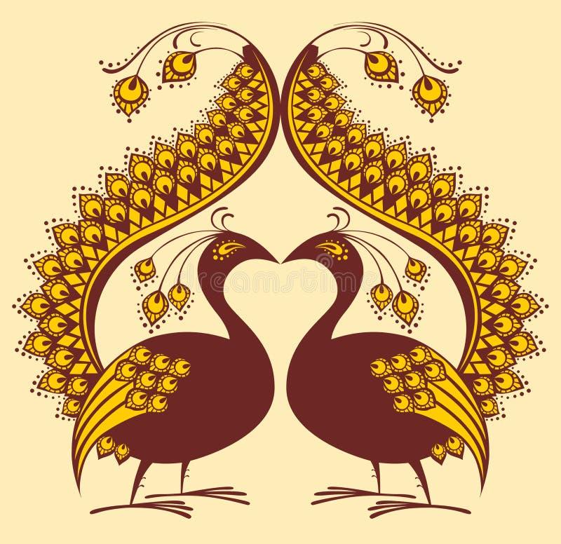 Abstracte vectorvogel, pauw vector illustratie