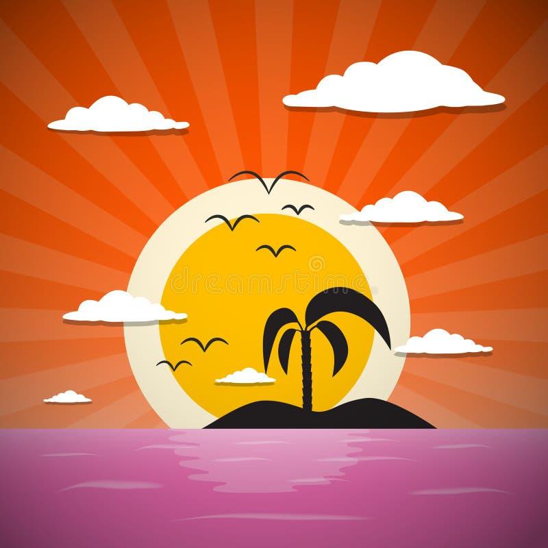 Abstracte Vectorzonsondergang Oceaanachtergrond met Palm, Eiland royalty-vrije illustratie
