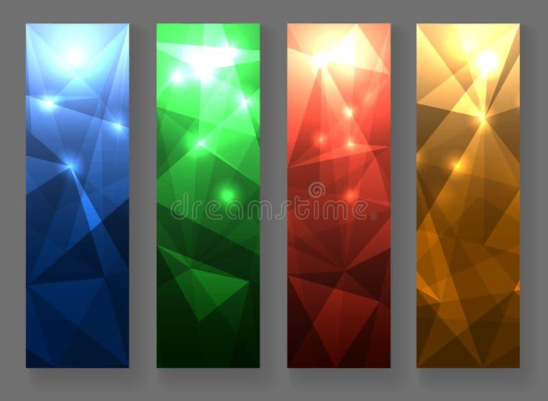 Abstracte Veelhoekige Bannerreeks stock illustratie
