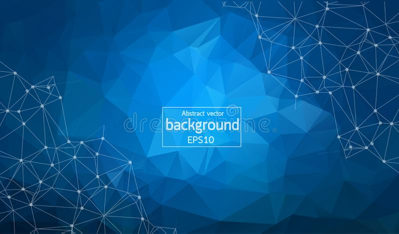 Abstracte veelhoekige Blauwe achtergrond met verbonden punten en lijnen, verbindingsstructuur, futuristische hudachtergrond royalty-vrije illustratie