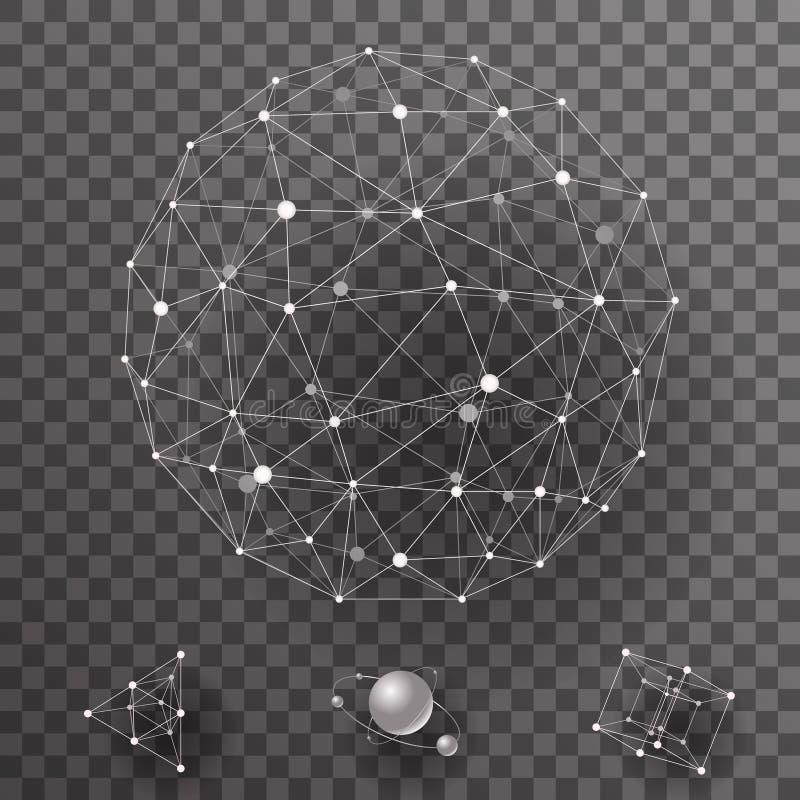 Abstracte veelhoekige de verbindingenpictogrammen van het wireframecontact geplaatst vectorillustratie stock illustratie