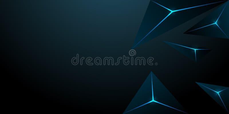 abstracte veelhoekige driehoeks donkerblauwe achtergrond royalty-vrije illustratie