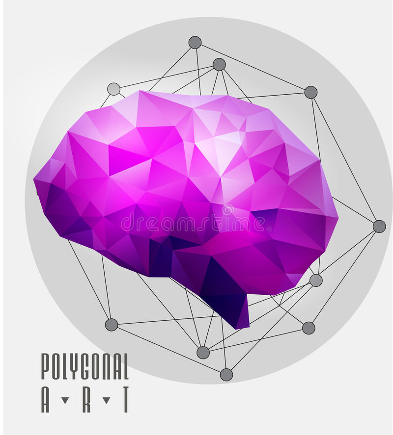 Abstracte veelhoekige hersenen royalty-vrije illustratie