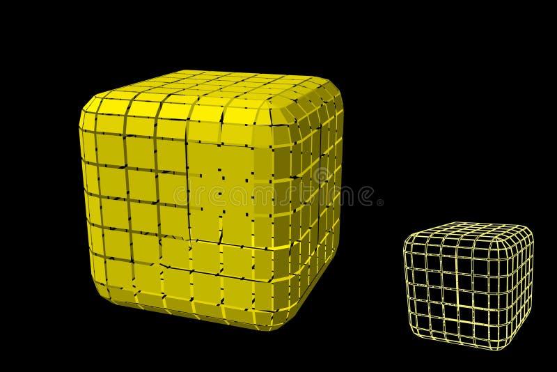 Abstracte veelhoekige kubus met besnoeiingen 3d vectorillustratie royalty-vrije illustratie