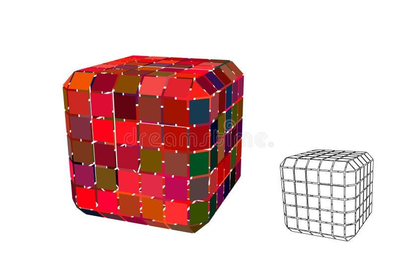Abstracte veelhoekige kubus met besnoeiingen 3d vectorillustratie vector illustratie