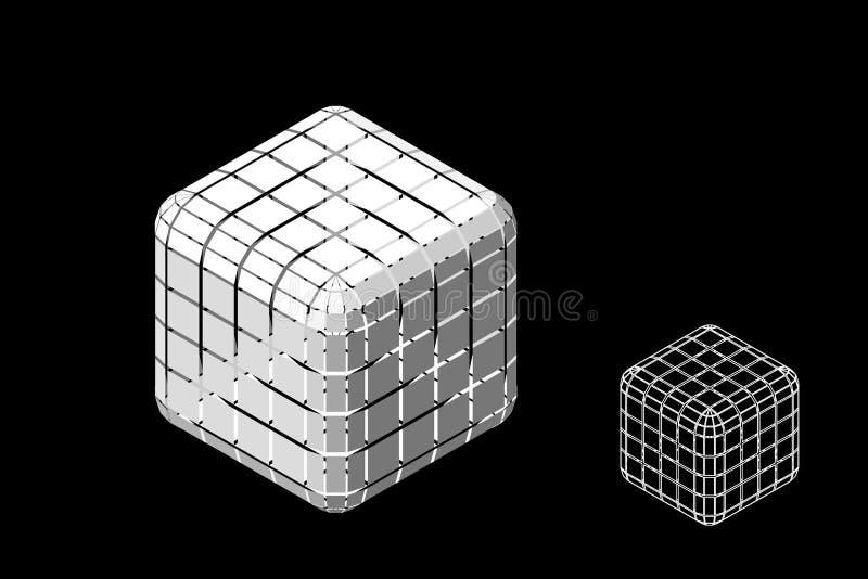 Abstracte veelhoekige kubus met besnoeiingen 3d vectorillustratie Isometrische projectie royalty-vrije illustratie