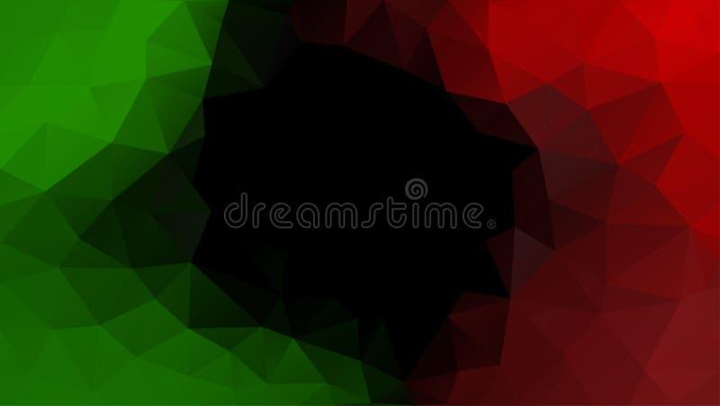 Abstracte veelhoekige mozaïek vectorachtergrond Groen, zwart, rood royalty-vrije illustratie