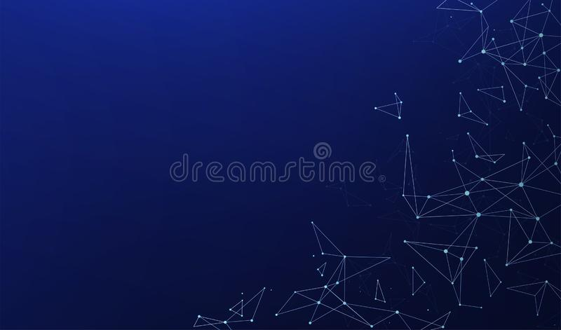 Abstracte veelhoekige verbindingen met het verbinden van punten en lijnen op een blauwe achtergrond stock illustratie
