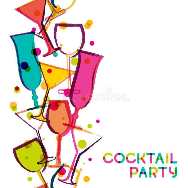 Abstracte veelkleurige cocktailglazen royalty-vrije illustratie