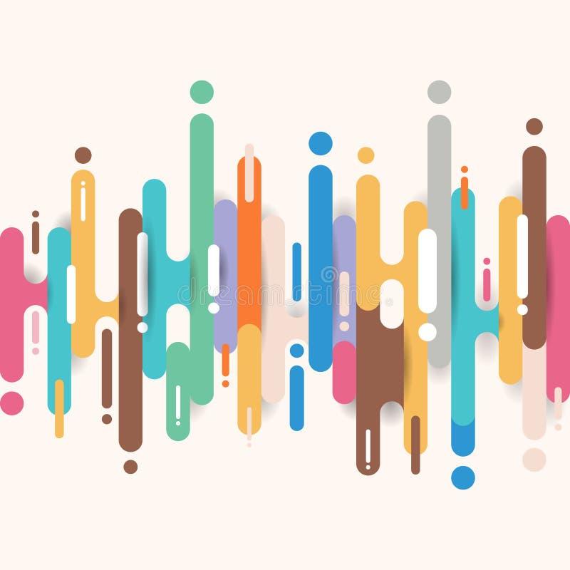 Abstracte veelkleurige rond gemaakte de overgangsachtergrond van vormenlijnen met exemplaarruimte Heldere kleur van de elementen  vector illustratie
