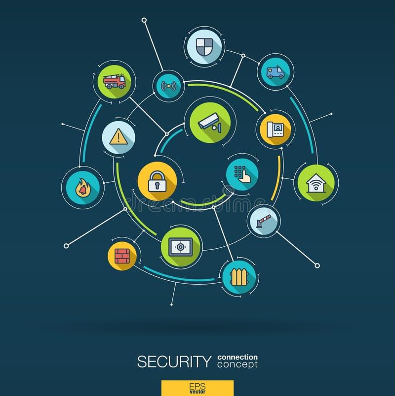 Abstracte veiligheid, toegangsbeheerachtergrond Digitaal sluit systeem aan geïntegreerde cirkels, vlakke dunne lijnpictogrammen a royalty-vrije illustratie