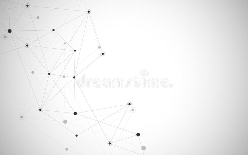 Abstracte verbindende punten en lijnen Van de verbindingswetenschap en technologie achtergrond Vector illustratie stock illustratie