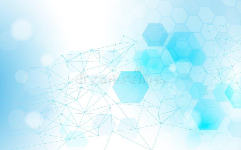 Abstracte verbindingenlijnen en zeshoeken met wetenschap, de achtergrond van het technologieconcept stock illustratie