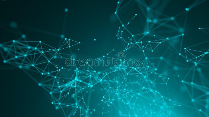 Abstracte verbindingspunten De achtergrond van de technologie Digitaal tekenings blauw thema Het concept van het netwerk stock illustratie
