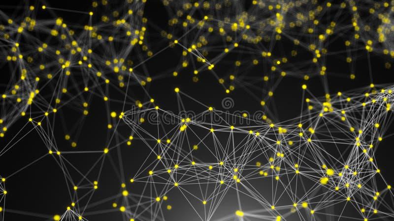 Abstracte verbindingspunten De achtergrond van de technologie Het concept van het netwerk stock illustratie