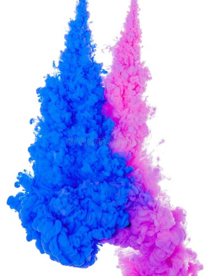 Abstracte verfkleur als achtergrond van blauwe en roze die inktplons in het water op witte achtergrond wordt geïsoleerd stock foto