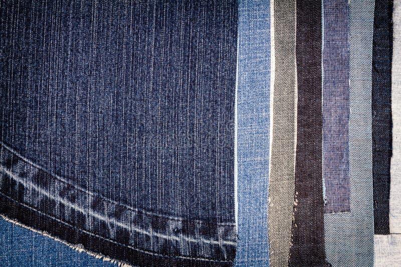 Abstracte verschillende de textuurachtergrond van jeansstrepen stock fotografie