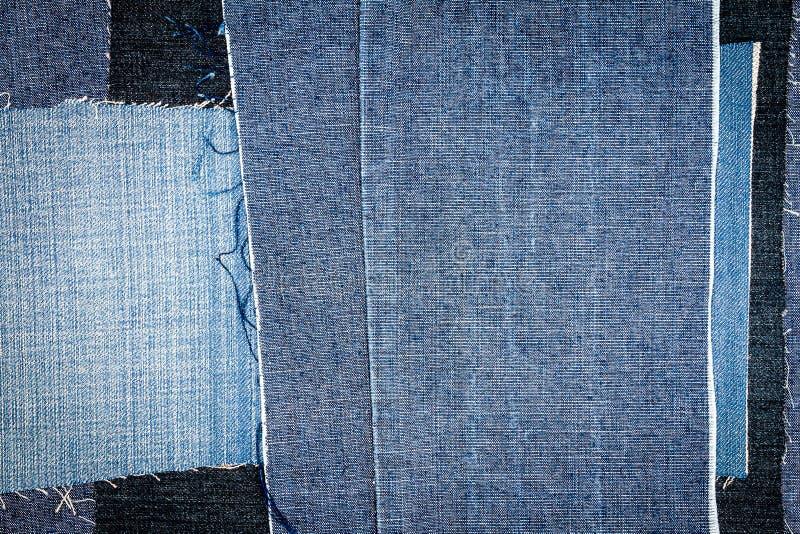 Abstracte verschillende de textuurachtergrond van jeansstrepen stock foto's