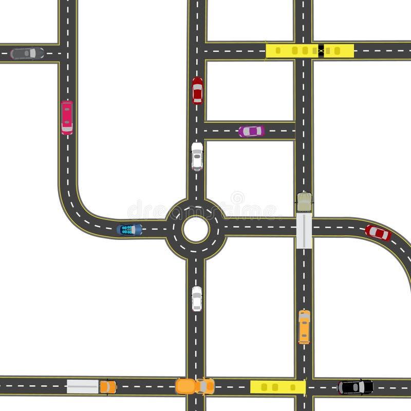 Abstracte vervoershub De kruisingen van diverse wegen Rotondeomloop vervoer Illustratie vector illustratie