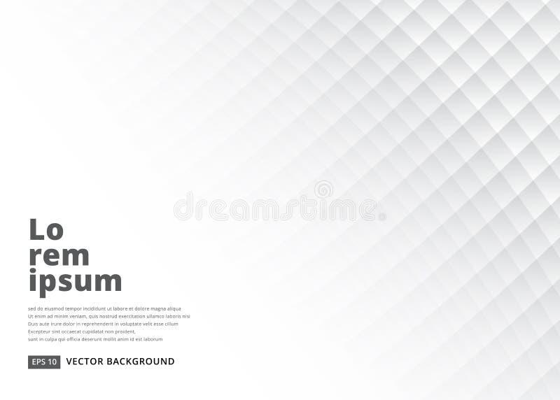 Abstracte vierkante achtergrond met perspectief Witte zachte textuur royalty-vrije illustratie