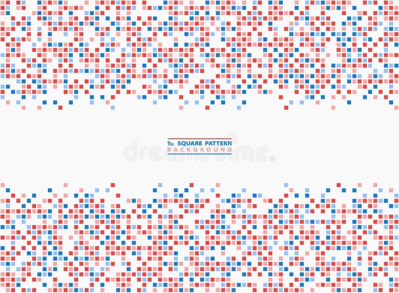 Abstracte vierkante het pixelachtergrond van het patroon blauwe en rode contrast Illustratie vectoreps10 royalty-vrije illustratie