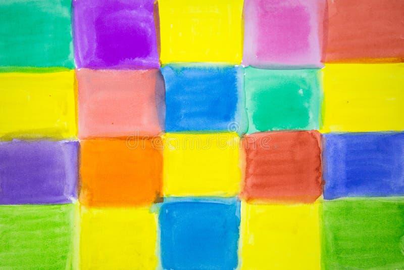 Abstracte Vierkanten van verschillende heldere kleuren stock illustratie