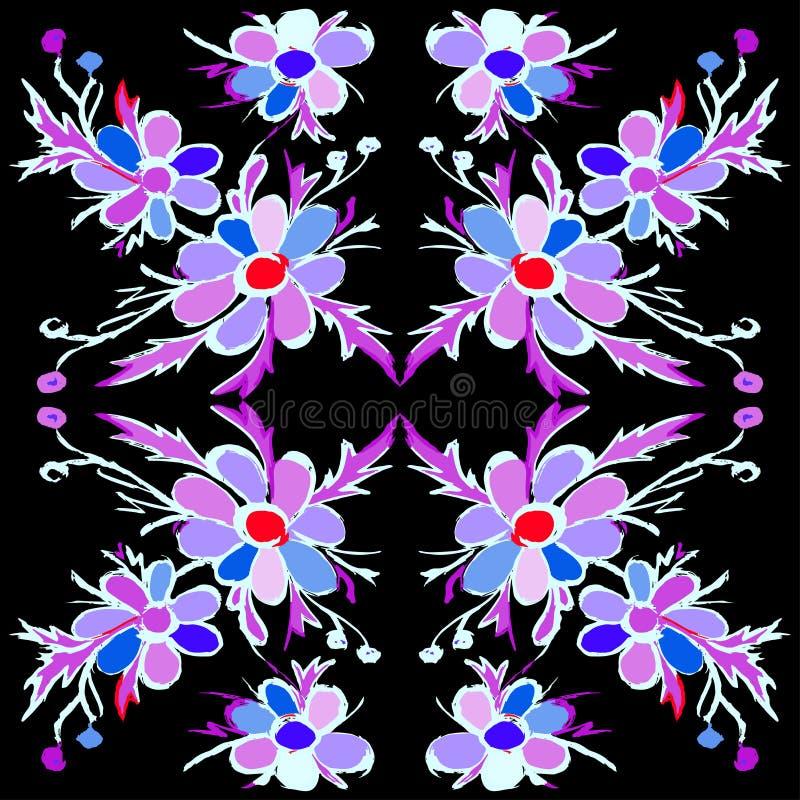 Abstracte violette bloemen op een zwarte vectorillustratie als achtergrond royalty-vrije illustratie