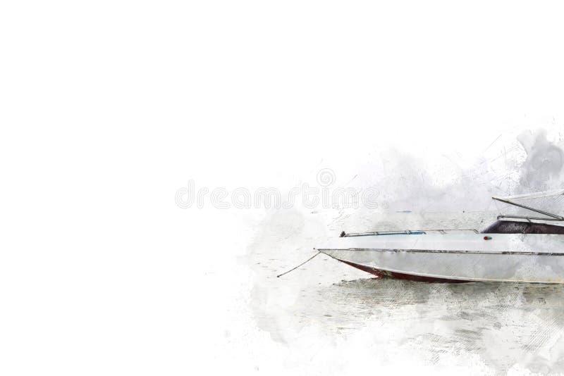 Abstracte vissersboot in oceaan op waterverf paining achtergrond royalty-vrije illustratie