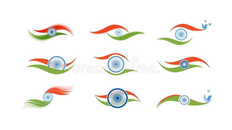 Abstracte vlagpictogrammen voor India vector illustratie